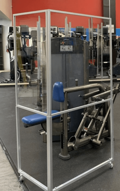 plexiglass l shaped gym divider